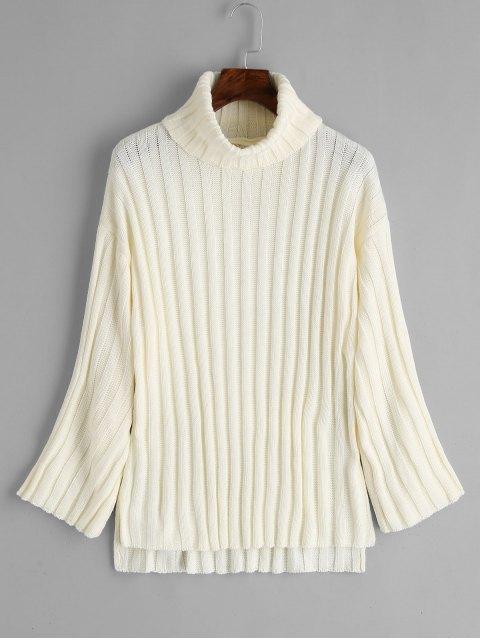 lady Side Slit Turtleneck Sweater - OFF-WHITE ONE SIZE Mobile