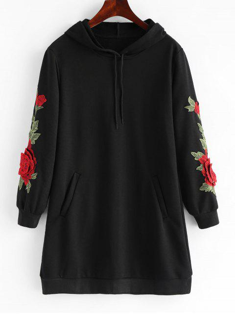 online Drawstring Longline Embroidered Patch Hoodie - BLACK S Mobile