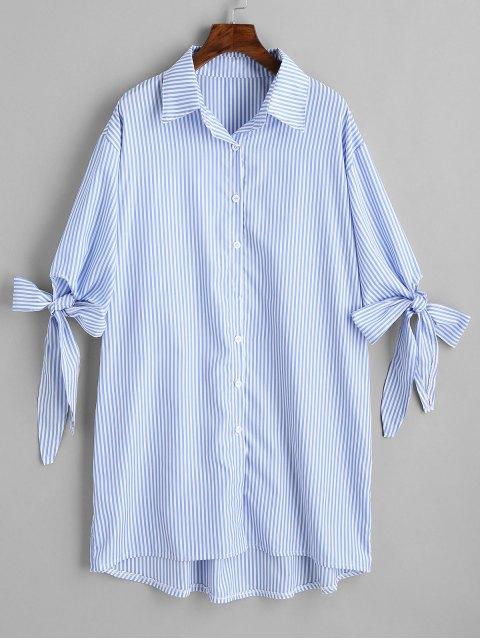 trendy Longline High Low Stripes Shirt - STRIPE S Mobile