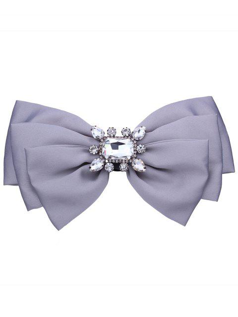 hot Faux Crystal Embellished Fabric Bowknot Brooch -   Mobile