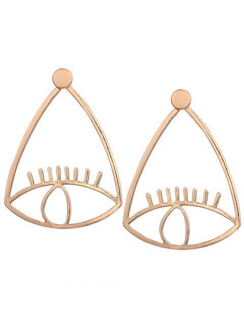 women's Funny Lash Eye Front Back Earrings - GOLDEN  Mobile