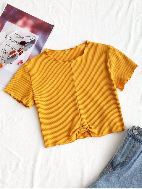 affordable Cropped Ribbed Draped Top - MUSTARD M Mobile