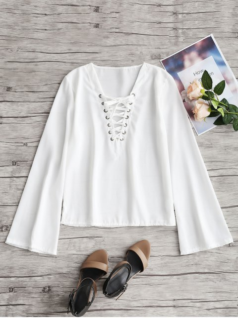lady Flared Sleeve Lace Up Top - WHITE XL Mobile