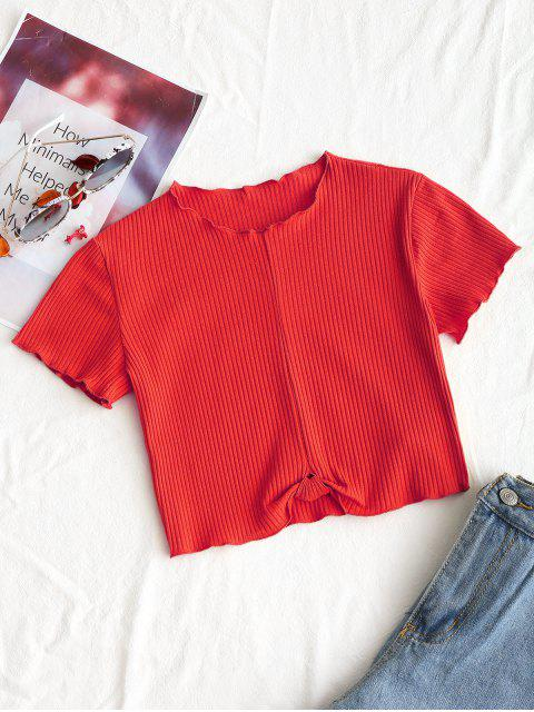 new Cropped Ribbed Draped Top - RED S Mobile