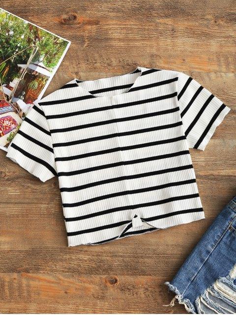 Top drapeado con costuras recortadas - Blanco y Negro M Mobile