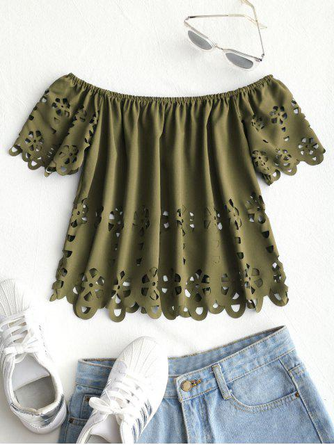 women Eyelet Off Shoulder Top - ARMY GREEN L Mobile