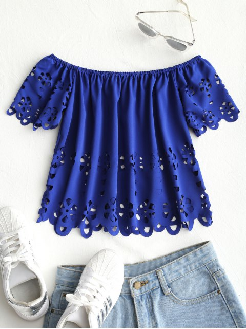 online Eyelet Off Shoulder Top - BLUE XL Mobile