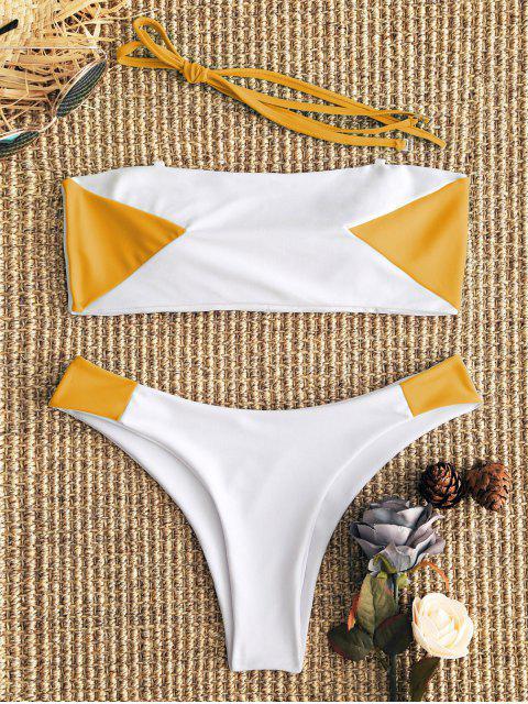 Conjunto de bikini de dos tonos con diseño bandeau - Blanco+Amarillo M Mobile