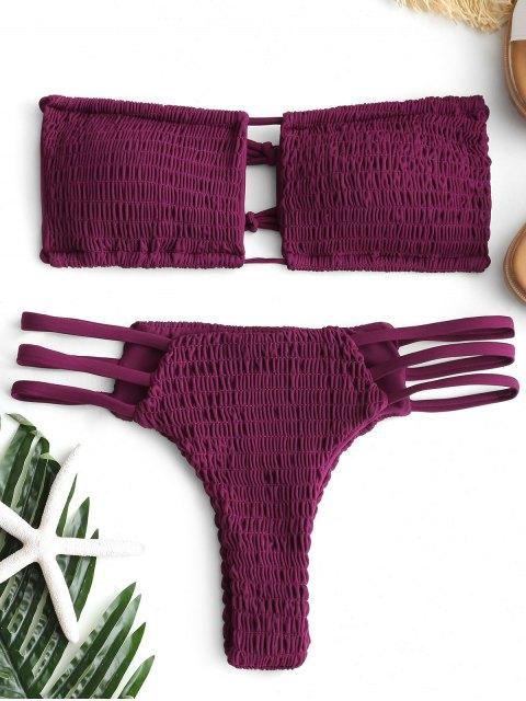Schnürung Smocked Thong Bikini Set - Magenta S Mobile