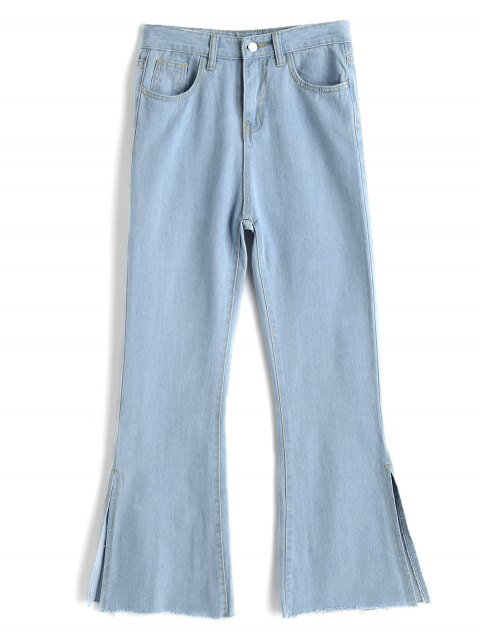 women Slit Light Wash Bootcut Jeans - BLUE L Mobile