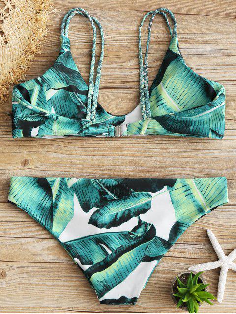 Conjunto de bikini con estampado de hojas de Cami - Verde S Mobile