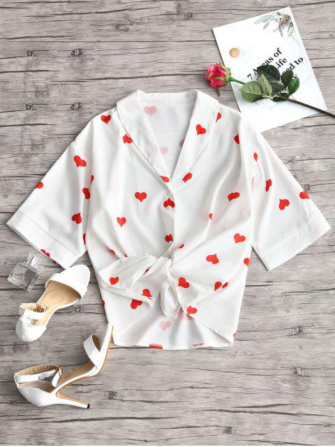 new Shawl Collar Heart Print Blouse - WHITE L Mobile
