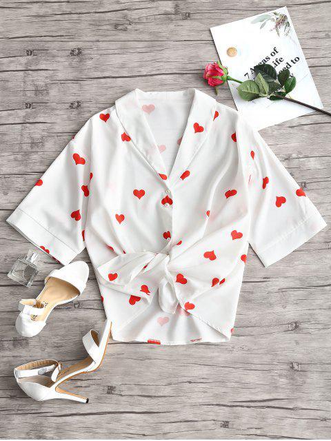 Blusa con estampado de corazones y cuello chal - Blanco L Mobile