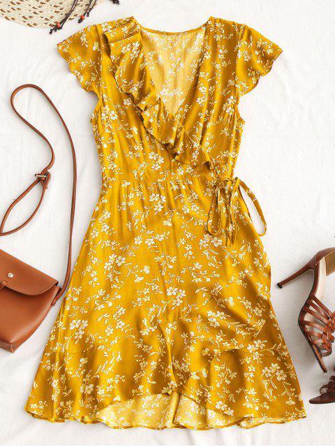 Kleines Mini-Wickelkleid mit Blumenrüschen - Gelb M Mobile