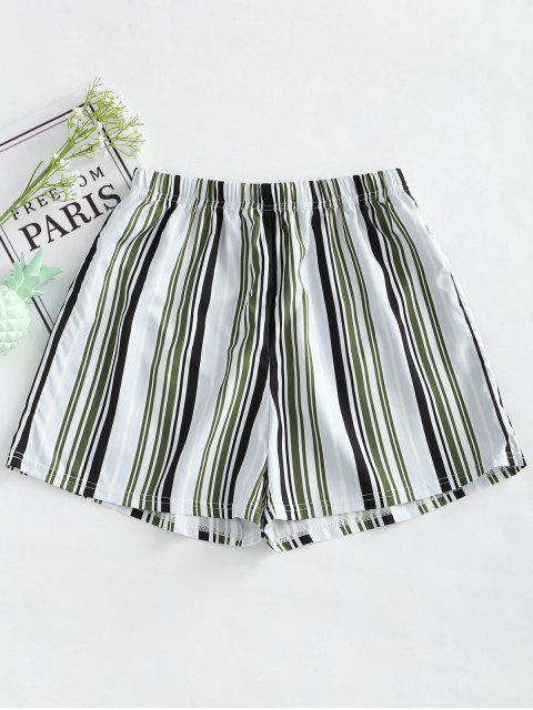 Pantalones cortos sueltos a rayas de cintura alta - Raya XL Mobile