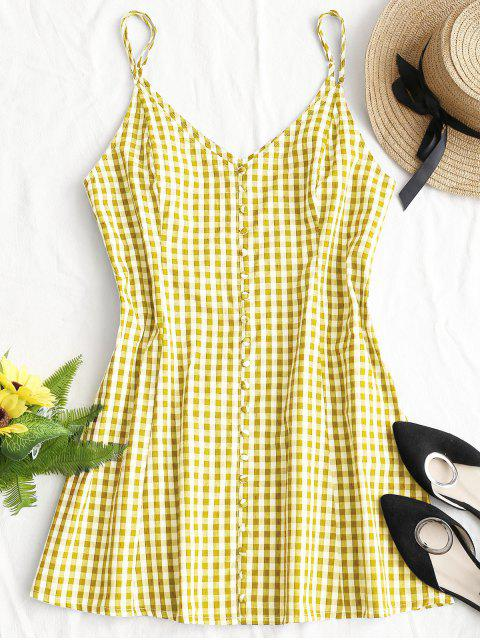 fancy Button Up Plaid Mini Dress - YELLOW M Mobile