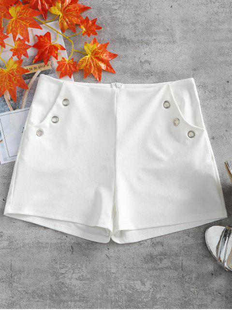 unique Metal Ring Embellished Pockets Shorts - WHITE L Mobile