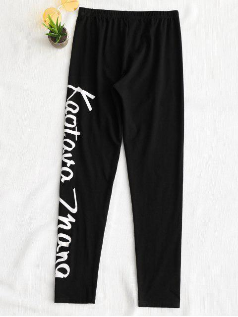 unique High Waisted Letter Leggings - BLACK L Mobile