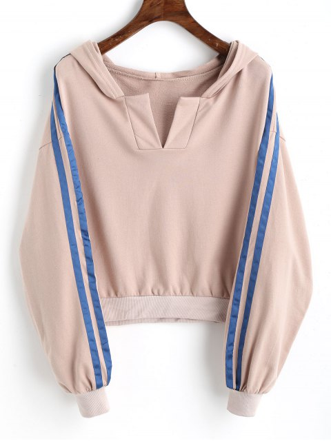 Ribbons Trim Slit Cropped Hoodie - Rosa Desnudo S Mobile