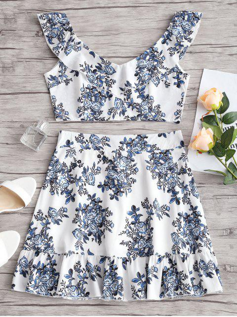 fancy Ruffles Floral Crop Top and Skirt Set - FLORAL M Mobile