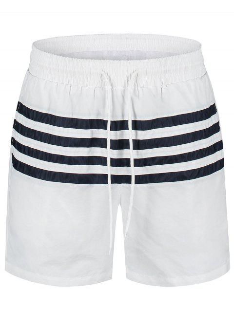 hot Striped Beach Board Shorts - WHITE L Mobile