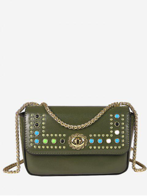Flapped Studs Crossbody Bag - Verde  Mobile