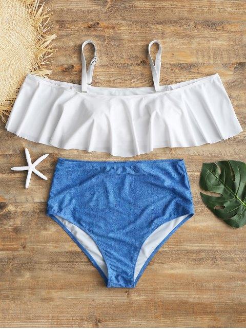 Haut de Bikini à Superposition avec Bas à Taille Haute Grande-Taille - Blanc XL Mobile