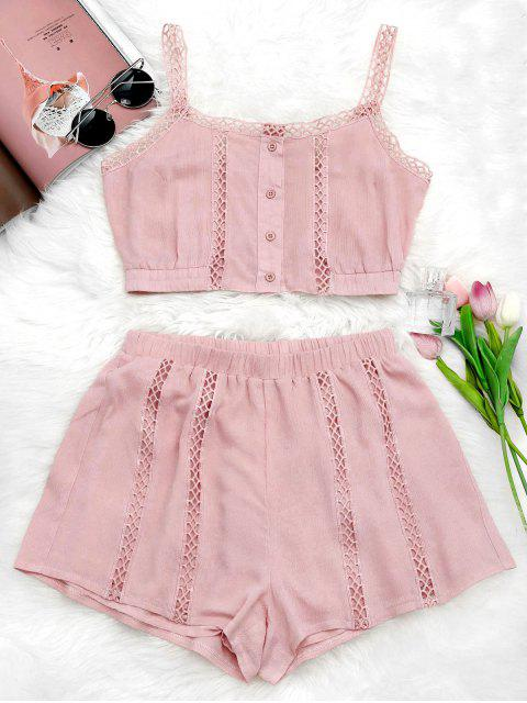 ladies Button Up Openwork Top and Shorts Suit - PINK L Mobile
