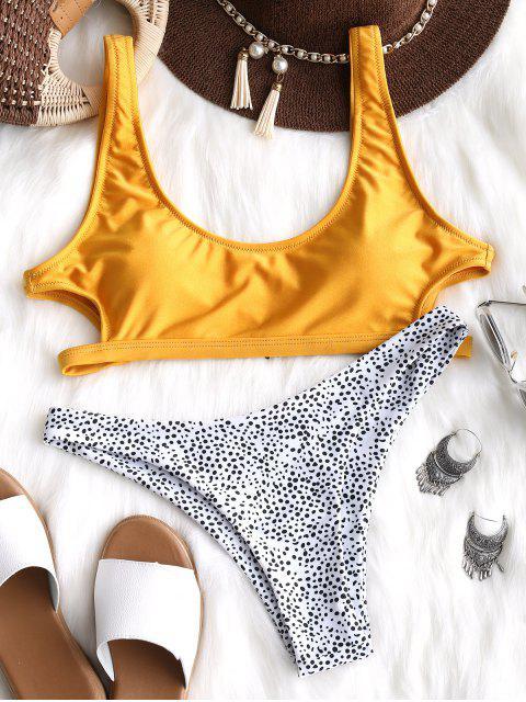 fancy Cutout Leopard Bikini Set - YELLOW M Mobile