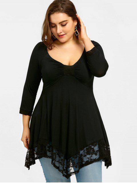 women's Lace Trim Plus Size Empire Waist Handkerchief T-shirt - BLACK 5XL Mobile
