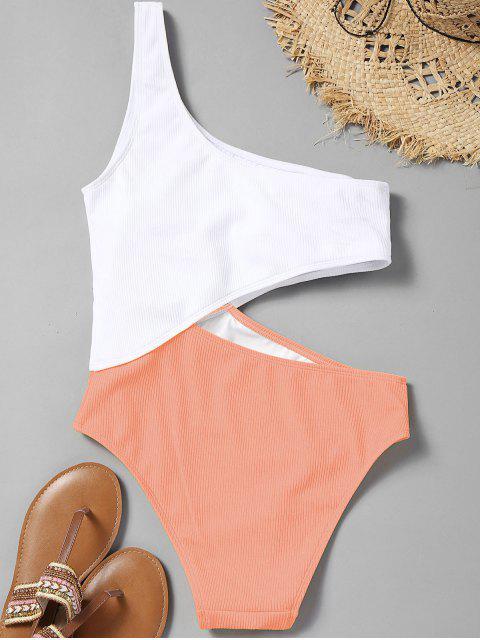 shops Cutout Ribbed One Shoulder Swimsuit - ORANGEPINK M Mobile