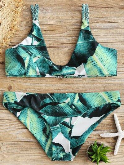 Plaited Cami Leaf Print Bikini Set - Green Xl
