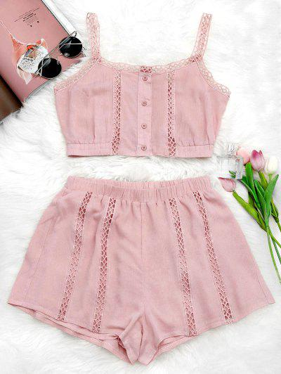Button Up Openwork Top And Shorts Suit - Pink M