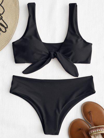 ZAFUL Tie Front Padded Bikini Set - Black M