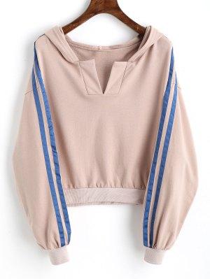 Ribbons Trim Slit Cropped Hoodie - Nude Pink S