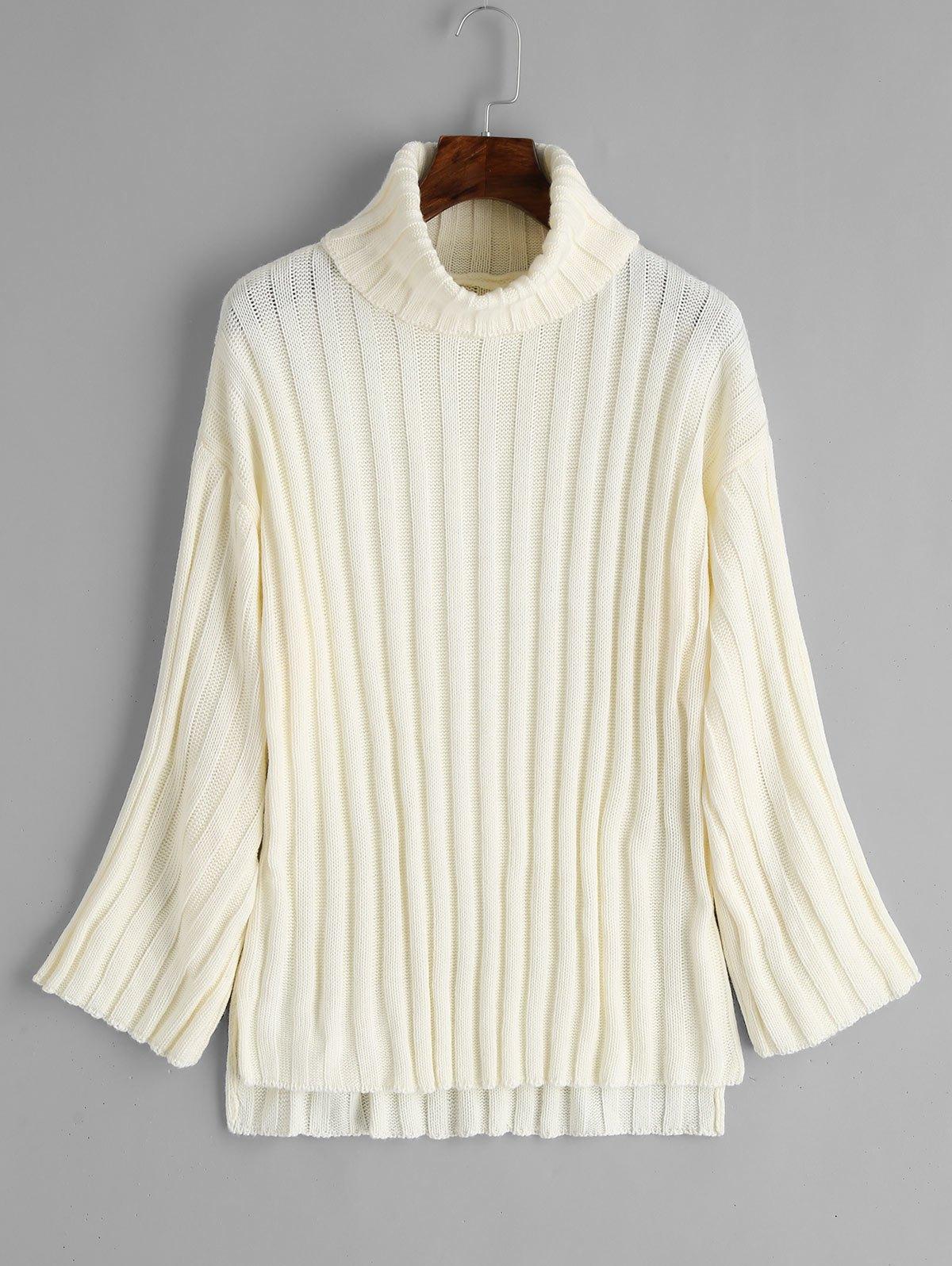 Side Slit Turtleneck Sweater 252838401