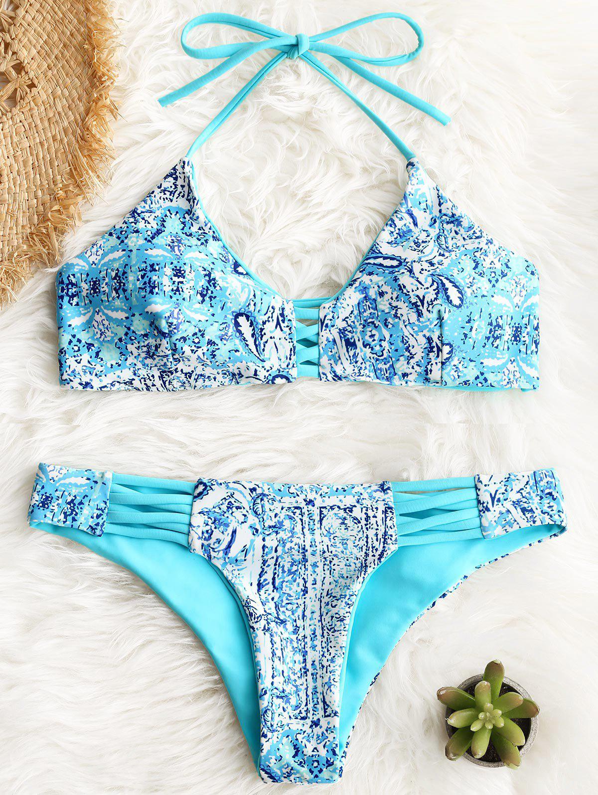 Halter Crisscross Printed Bikini Set