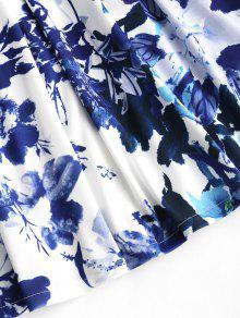 Con Floral Acampanado Cuello V En Floral Vestido M qWOAwnavax