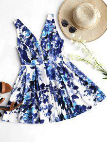 فستان توهج طباعة الأزهار غارق الرقبة ذو فتحات - الأزهار L