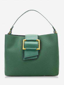 حقيبة يد من الجلد المزيف مغلقة بمشبك - أخضر
