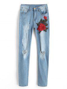 جينز ممزق مرقع بالأزهار - الضوء الأزرق L
