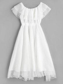 فستان كشكش متدرج بلا اكتاف - أبيض M