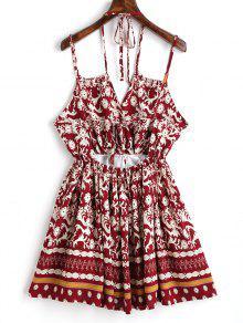 Mini Rojo Vino Vestido L Estampado HYaqHTn