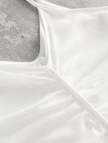 Vestido Cuello Xl De Redondo Con Acampanado Malla Blanco Z0rfZqva