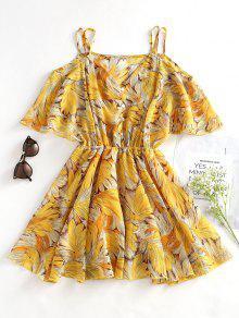 فستان كامي توهج طباعة الأوراق - الأصفر L