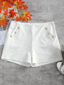 خاتم معدني جيوب مزين السراويل - أبيض Xl