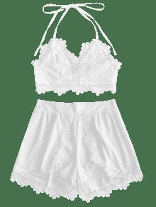 Lacework Backless Halter M Top Y Shorts Blanco Set 4qSxPwaq
