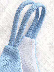 f2154736cc  55% OFF  2019 Cinched Ribbed Bandeau Bikini Set In LIGHT BLUE