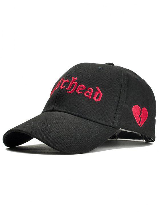 قبعة بيسبول مطرزة بقلب - أسود
