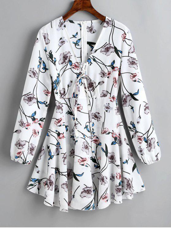 فستان توهج طباعة الازهار مشد طويلة الأكمام - أبيض S